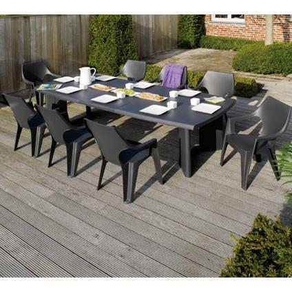 Table De Jardin Allibert 39 New York 39 Rectangulaire R Sine Graphite 320 X 105 Cm Kadolog