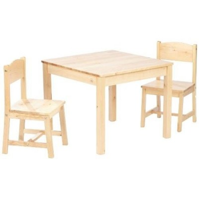 ensemble table et 2 chaises enfant en bois naturel kadolog. Black Bedroom Furniture Sets. Home Design Ideas
